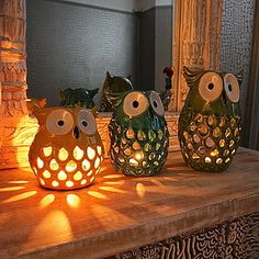 Show your father how much you care about him by encouraging him in a specific way with a special Father's Day Decoration Ideas to convey your love to your father. Owl Home Decor, Ceramic Owl, Owl House, Pottery Painting, Tea Light Holder, Family Holiday, Candlesticks, Pumpkin Carving, Tea Lights