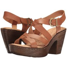 Born Greccia (Brown Full Grain) Women's Wedge Shoes ($63) ❤ liked on Polyvore featuring shoes, sandals, brown wedge sandals, platform wedge shoes, brown shoes, wedge sandals and brown wedge heel sandals