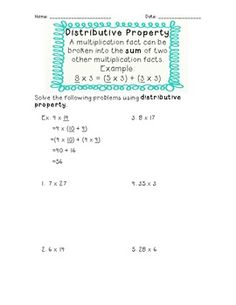 Worksheets To Color Properties Of Multiplication Distributive  Multiplication  Worksheets Solving Equations Word with Grammar Worksheets Adjectives Excel A Rd Grade Common Core Aligned Worksheet On Distributive Property I  Created It With The Count And Noncount Nouns Esl Worksheet Pdf