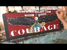 Custom USMC Footlocker - DFW Mural Artists  Art custom art