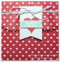 Hearts Treat Bag Envelope made with a now retired bag from a kit, but you could use any small bag that Stampin' Up! sells now! Insert a card or small treat or gift! http://www.stampinup.com/ECWeb/?dbwsdemoid=54345