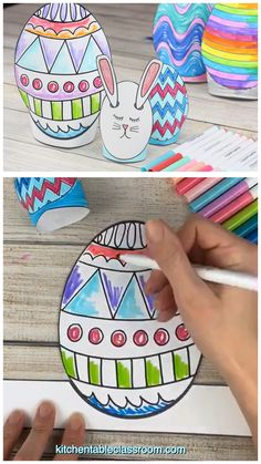 This Easter egg template set includes five different Easter egg print ales in two different sizes. Print, cut, and design these sweet stand up Easter egg printables. videos Easter Egg Template- Stand Up Easter Egg Printables - The Kitchen Table Classroom Easter Craft Activities, Bunny Crafts, Easter Crafts For Kids, Easter Ideas, Art D'oeuf, Easter Egg Template, Easter Templates, Diy Ostern, Easter Printables