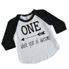 Boy First Birthday Shirt, One Whole Year of Awesome (12-18 Months)