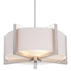 Metropolitan® Family Collection - Three Light Pendant - Three Light Pendant in Polished Nickel Finish w/Soft White Fabric Shade and Tempered Glass Diffuser