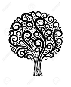 black tree in a flower design with swirls and flourishes on a..