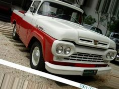 """1960 Ford. My 2011 Christmas present from my husband was a truck JUST like this one except in baby blue and white. I immediately christened it """"Murray"""" (cuz it was my Murray Kissmas pwesent)"""