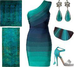 """Blue Bandage Dress"" by emily-inc ❤ liked on Polyvore"