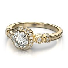 Perfect Yellow Gold Diamond Wedding Ring With Vintage Style