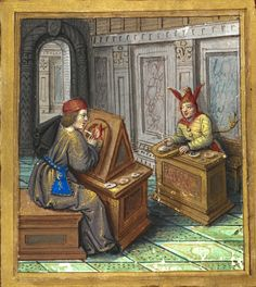 A man painting a portrait of a jester (the wise man and the fool). (f°9*) -- «Petit Livre d'Amour», by Pierre Sala, Paris and Lyon (France), 1st quarter of the 16th century [BL Stowe 955].