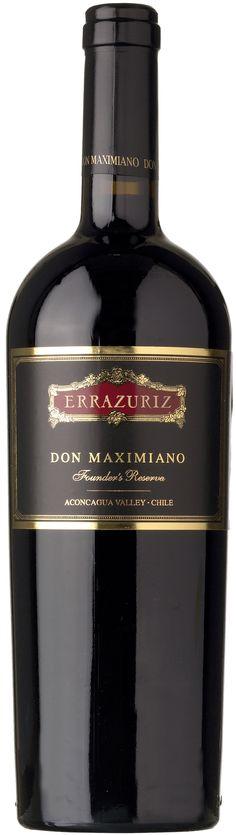 """""""Don Maximiano, Founder's Reserve"""" 78% Cabernet Sauvignon / 10% Carmenère  7% Petit Verdot /  5% Syrah 2010 -  Viña Errazuriz, Valle de Aconcagua----------------------------- Terroir: Valle de Aconcagua------------ Crianza: 22 meses en barricas de roble francés"""