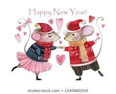 Watercolor Christmas Card With A Pair Of Mice In Love. Stock Illustration - Illustration of illustration, children: 162573664 New Year Illustration, Mouse Illustration, Watercolor Christmas Cards, Watercolor Cards, Christmas Pictures, Christmas Art, Mouse Sketch, Mouse Pictures, Pet Mice
