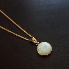 white opal pendant gold necklace 14k gold necklace by AditaGold