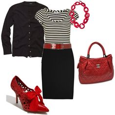 love everything about this outfit but the shoes... I think some red stilletos would be more appropriate for me...