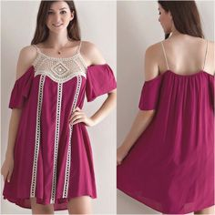 Cold Shoulder Dress  S M L Beautiful cold shoulder dress with crochet details. Sizes: Small, Medium, Large available. Please do not purchase this listing, leave a comment below and I will create a separate listing for you to purchase. Dresses