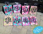 Small Monogram Printed and Hand Painted Canvases inspired by Lilly Pulitzer prints