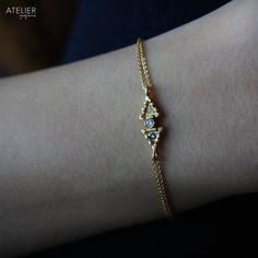 Diamond & Sapphire Bracelet in Solid 14kt Gold by ATELIER Gaby Marcos