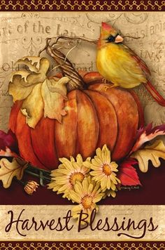 You'll count your blessings when you see the Evergreen Flag Fall Pumpkin Harvest House Flag , boasting a warmly colored pumpkin, flower, and bird design. Autumn Painting, Painting On Wood, Fall Paintings, Painting Pumpkins, Autumn Art, Tole Painting, Autumn Leaves, Watercolor Painting, Evergreen Flags