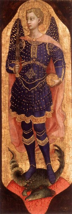 Michael - Artist: Fra Angelico Start Date: 1423 Completion Style: Early Renaissance Series: San Domenico Altarpiece Genre: religious painting Technique: tempera Material: panel Gallery: Private Collection Saint Michael, St. Michael, Fra Angelico, Italian Renaissance, Renaissance Art, Religious Icons, Religious Art, Saint Dominique, Renaissance Paintings