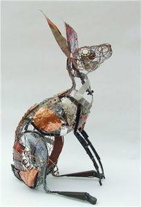 Amazing sense of form in the metal sculptures of Barbara Franc Rabbit Sculpture, Sculpture Art, Abstract Sculpture, Bronze Sculpture, Alphonse Mucha, Animal Sculptures, Wire Sculptures, Garden Sculptures, Metal Garden Art