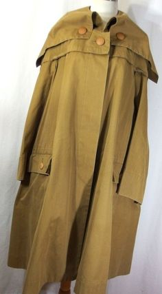 VTG Issey Miyake M trench jacket coat thick cotton button down front pockets l/s #ISSEYMIYAKE #Trench