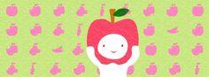 【Facebook cover】『明日の誕生花、りんごにちなんでテーマはりんごです♪りんごかじり柄が何だか月の満ち欠けみたい^^』制作日5/10