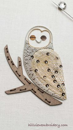 The Little Owl is completed! Isn't this guy cute? Designed by Becky Hogg and stitched by Catherine Patterson, this is a great introduction to metallic work embroidery. For a full review of the kit, and a look at the tricky spots to embroider, head to hillviewembroidery.com for all the details!