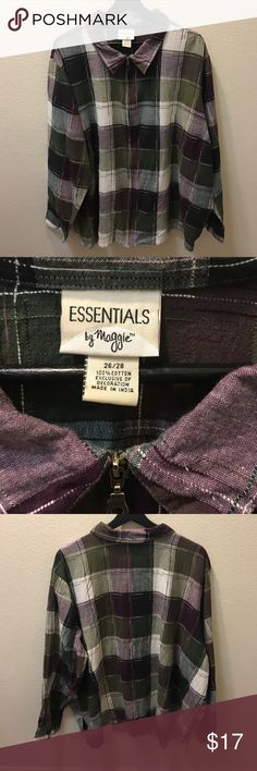 Women's zip up lightweight plaid Top Women's lightweight plaid zip up top. Size 26/28. 100% cotton. Beautiful plum, green and white colors. Approximate measurements laid flat: 28 inches armpit to armpit, sleeves 24 inches and total length about 26 inches. Great condition. Perfect for fall. Essentials by Maggie Tops