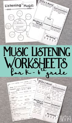 Music Listening Worksheets, Generic musing listening for grades Kindergarten through grade. These are awesome for music class and great for a sub! Music Lessons For Kids, Music Lesson Plans, Music For Kids, Elementary Music Lessons, Elementary Schools, Music Sub Plans, Kindergarten Music Lessons, Art Lessons, Middle School Music