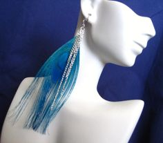 Silver Blue Peacock Feather Earrings Peacock Blue Wedding Jewelry
