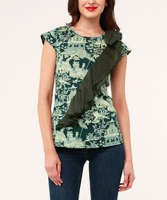Loving this Green Village Ruffle Volante Cap-Sleeve Top on #zulily, $35 !!  #zulilyfinds