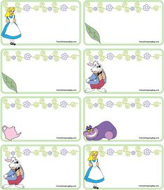 Gift Tags Alice, Alice In Wonderland, Gift Tags - Free Printable Ideas from Family Shoppingbag.com