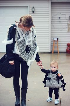 Cheap easy warm comfy Halloween costume idea for mom and baby - the Itsy Bitsy Spider and her Web - also an excuse to wear yoga pants/leggings and call it a costume. ha.