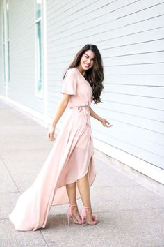 Blush Wrap Gown with Flutter Sleeves. Feminine Style. Girl dress. Pink dress. Pink shoes. Pink Pom Pom Sandals. Valentine's dress. Valentine's style Inspiration.