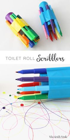A fun toilet paper roll art activity for kids. Use felt tip pens, duct tape and a cardboard tube to create an experimental 'scribbler'.