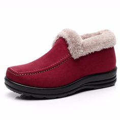 $13.21---11---RED---Suede Ankle Soft Warm Footwear Short Boots For Women
