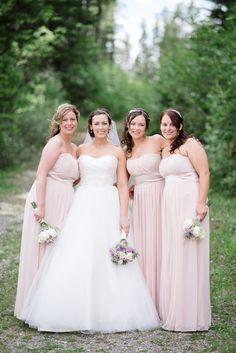 Full length blush bridesmaid dresses