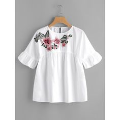 Online shopping for Embroidered Flower Embellished Ruffle Sleeve Babydoll Top from a great selection of women's fashion clothing & more at MakeMeChic. White Short Sleeve Blouse, White Ruffle Blouse, Ruffle Top, Floral Blouse, Ruffle Fabric, Embroidered Blouse, Embroidered Flowers, Diy Kleidung, Mode Top