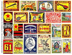 Matchbox Art - Printed Matchbook Cover, 21 Decorative Matchbox Art Paper Stickers, Safety Match Label Clip Art Tags, Old Advertising, 135a