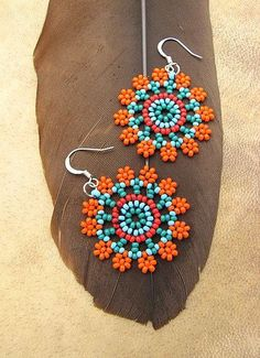 Items similar to Seed Beaded Earrings, Mandala Flower in Orange and Turquoise. on Etsy Seed Bead Jewelry, Bead Jewellery, Seed Bead Earrings, Diy Earrings, Hoop Earrings, Seed Beads, Diy Jewelry, Bugle Beads, Jewelry Making