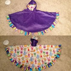 Reversible Girlie Monster Car Seat Poncho With Fun Ribbon