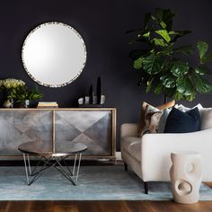 Pictured pieces include the Mardi Sofa, Thor Sliding Cabinet and George Cocktail Table. Room Inspiration, Interior Inspiration, Oly Studio, Living Room Update, Interior Decorating, Interior Design, Round Mirrors, Interior And Exterior, Home Furnishings