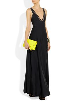 DKNY | Stretch-jersey and stretch-mesh maxi dress | NET-A-PORTER.COM