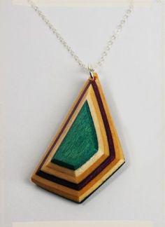 geometric upcycled skateboard necklace