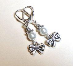 Black Friday, Earrings White Glass Pearl, Silver Filigree, Bows, Ribbon FREE SHIPPING. $5.00, via Etsy.