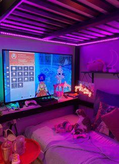 Neon Bedroom, Cute Bedroom Decor, Room Design Bedroom, Room Ideas Bedroom, Chill Room, Cozy Room, Beauty Room Decor, Otaku Room, Dream Rooms