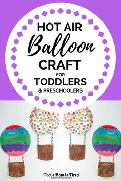 Paper Plate Hot Air Balloon Craft for Toddlers & Preschoolers – Toot's Mom is Tired – Martha Bison – art therapy activities Preschool Art Projects, Toddler Art Projects, Craft Projects For Kids, Preschool Crafts, Fun Crafts, Arts And Crafts, Craft Ideas, Preschool Science, Toddler Preschool