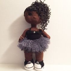 Handmade 18 African American crochet doll by OffDHookCreations