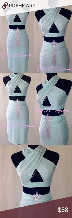 Mint green crystal ab Rhinestone 2 piece dress set Sizes x-small and small, this Rhinestone set is made to shine miles away Queen B Emporium Dresses Midi