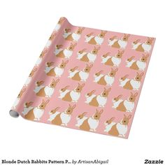 Sold! Thank you to the customer and enjoy! Blonde Dutch Rabbits Pattern Pink Wrapping Paper; ArtisanAbigail at Zazzle