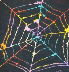 À la suite de Marguerite Bourgeoys: Art de la semaine: Toile d'araignée, peinture grattée (Halloween)